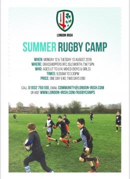 London Irish Summer Camp at Grasshoppers